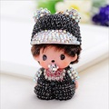 Monchichi sleutelhanger Christmas Gift Rhinestone women Car Keychain Cartoon Crystal Key Ring key Holder fashion Jewelry Pendant