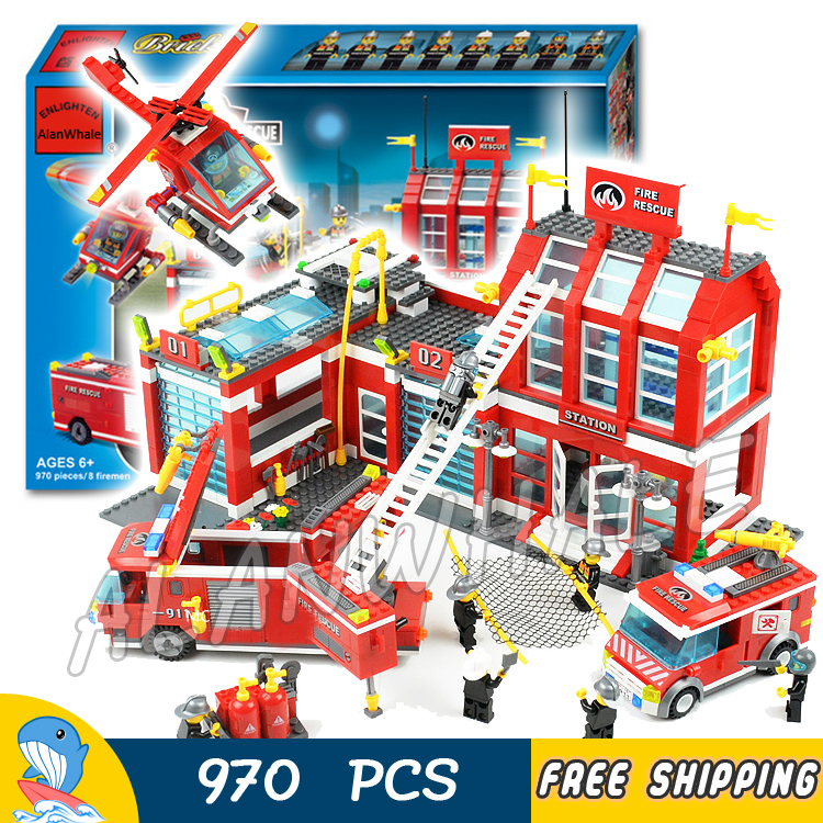 цена 970pcs New City Fire Station Truck Firefighter Helicopter 911 Large Model Building Blocks Toys Construction Compatible with lego