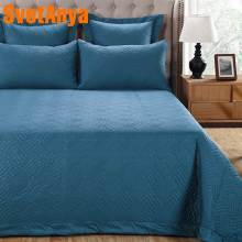 Svetanya Solid Color Bedspread set thick Bed Sheet stiching Bedcover Coverlet Pillowcase(China)