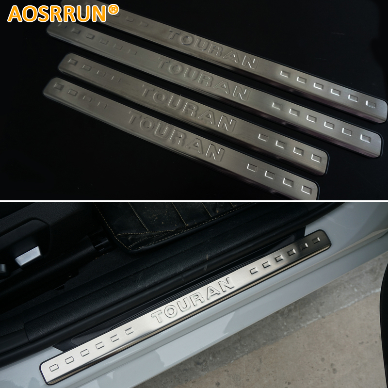 AOSRRUN For VW Volkswagen Touran 2004-2013 Stainless steel scuff plate door sill Car-Styling Car Accessories for led stainless steel door sill scuff plate for volkswagen vw jetta mk6 2011 2013 car accessories car styling for