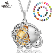 Eudora 20 mm Harmony Bell Ball Cute elephant Locket Cage Pendant Necklce Collier Colgante Angel Caller Sounds Jewelry K200
