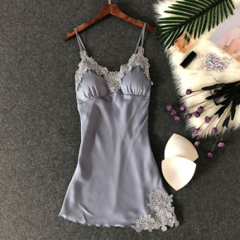 Women's Sexy Lingerie Silk Nightgown Summer Dress Lace Night Dress Sleepwear Babydoll Nightie Satin Homewear Chest Pad Nightwear 4