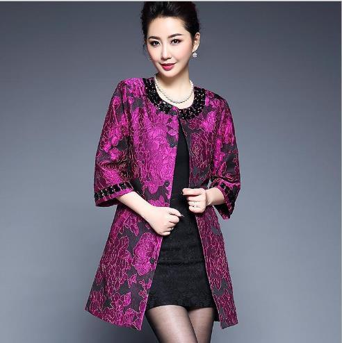 De 5xl Automne Manteau Printemps D'âge Moyen D'impression Mode Vêtements Femmes Taille E830 Survêtement vent Coupe Grande Mère w8qUtv