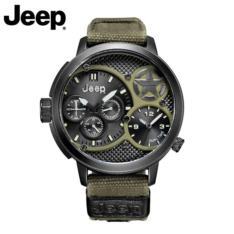 Jeep D'origine Hommes Montres Militaire Sport En Plein Air Quartz Vert Cavas Montres Top Marque Résistant À L'eau De Luxe Montres JP15203