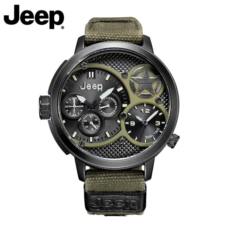 Jeep de los hombres originales militar relojes deporte al aire libre de cuarzo verde Cavas relojes de la marca superior resistente al agua de relojes de lujo JP15203