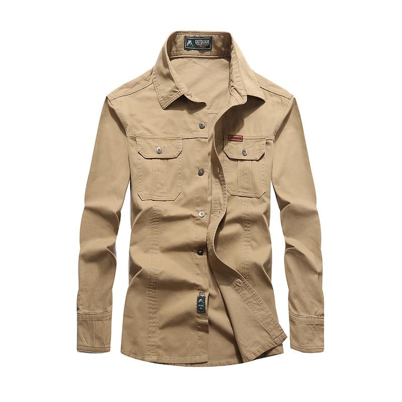 NIANJEEP 2018 Бавовняні джинсові чоловічі сорочки з довгим рукавом Військово-армійські зелені випадкові сорочки Марка одягу Camisa