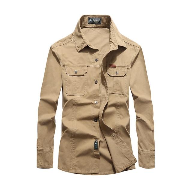 eaeea2aa2df NIANJEEP 2018 Cotton Denim Men Shirts Long Sleeve Military Army Green  Casual Shirt Brand Clothing Camisa Masculina