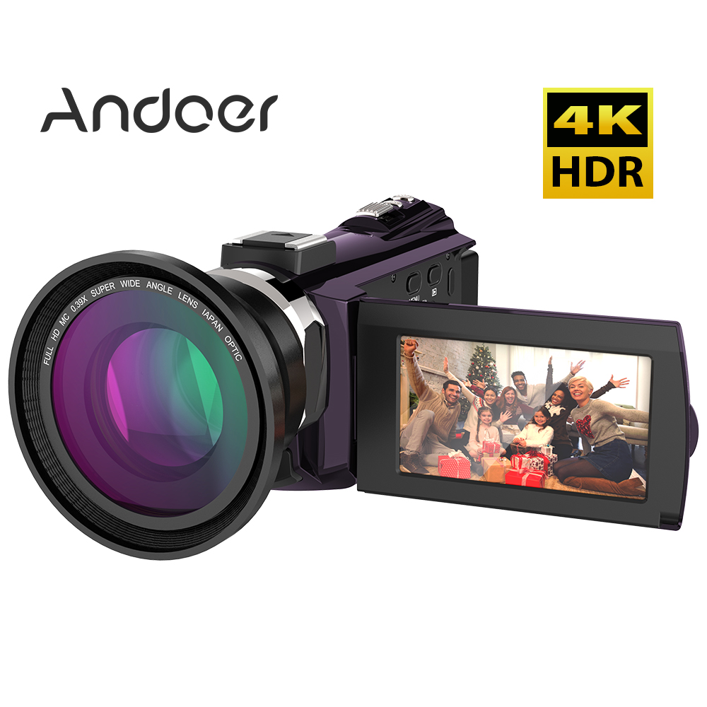 Andoer 4K 1080P 48MP WiFi Digital Video Camera with Wide Angle Macro Lens Capacitive Touchscreen Support