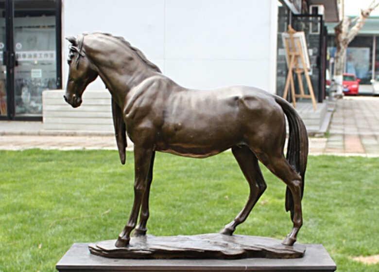 "Scy 16 ""الصينية النحاس والبرونز والرخام فن زخرفة المنزل الراحة الحصان تمثال النحت"