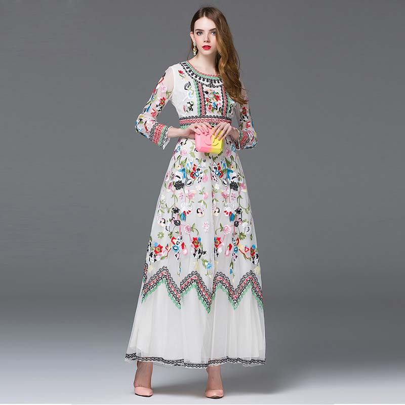 2016High Quality Runway Designer Dress Womens Long sleeve Gauze Retro Noble Floral Embroidery Long Dress