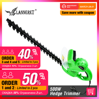 LANNERET 500W Hedge Trimmer AC Electric 510mm Grass Cutter Machine with Two hand safety Switch Garden Tool