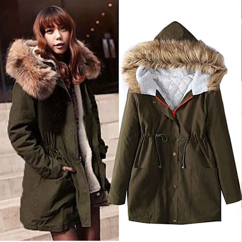 2017 New Sale Fashion Women parka jacket Coat Elegant Pure color Fur collar jacket Keep warm Winter Women Coat in Parkas from Women 39 s Clothing
