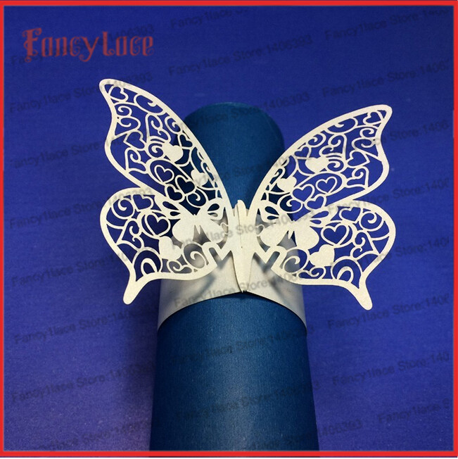 50X Porta Guardanapo Laser Cut Love Butterfly Paper Napkin Rings Holders Favors And Gifts Party