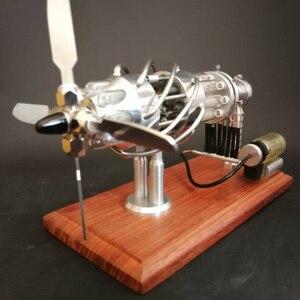 Image 5 - Super Quality 1 Pcs 16 Cylinder Swash Plate Butane Powered Quartz Glass Hot Cylinder Stirling Engine Model