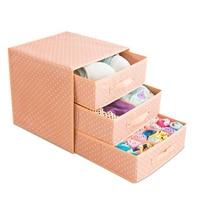 Three layer three drawer bra storage organizer Oxford cloth underwear socks scarf storage box desktop storage storage box