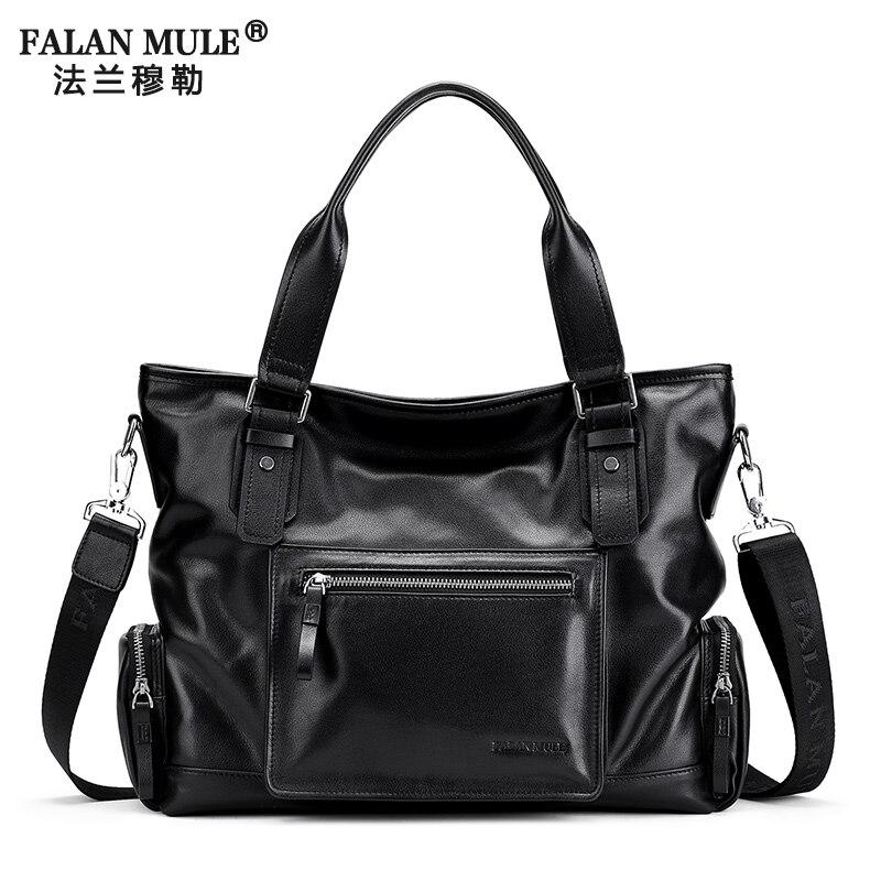 ФОТО FALAN MULE Brand Genuine Leather Mens Crossbody Bag Fashion Handbag Leather Briefcase Men Bag Shoulder Travel Bag Tote Bags