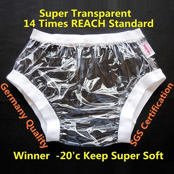 Free Shipping FUUBUU2207-transparent-S-1PCS ABDL Wide elastic pants adult diapers non disposable diaper plastic diaper pants