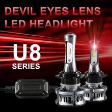 CARLitek kırmızı şeytan Led gözler H7 H8 H9 H11 far ampulü araba projektör Lens 10000LM 6500K CSP çip 9005 9006 HB3 HB4 Led ampuller