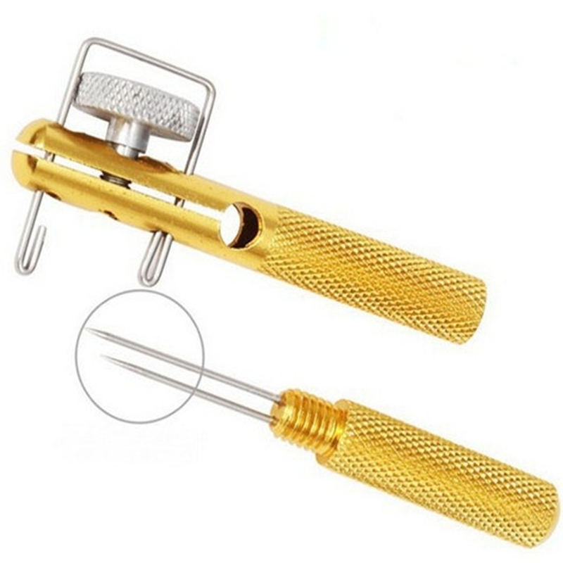 Aluminum Alloy Metal Manual Fishing Hook Tier Double-Headed Needle Gold Fishing Line Fishhook Tie Device Fishing Accessories