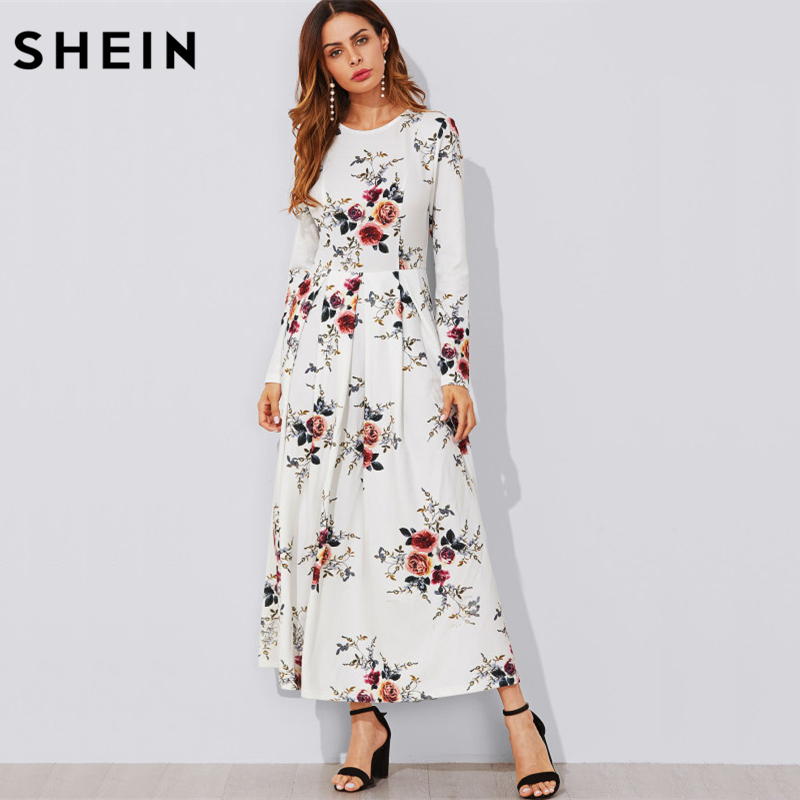 SHEIN Flower Print Box Pleated A Line Dress Casual Women Autumn Dress White Long Sleeve  ...