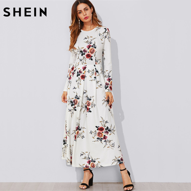 Shein Flower Print Box Pleated A Line Dress Casual Women Autumn White Long Sleeve Fl