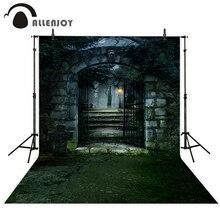 Allenjoy foto de fondo scary Halloween Jardín hierba puerta noche luna Estudio Fotográfico fondos para niños estudio fotográfico