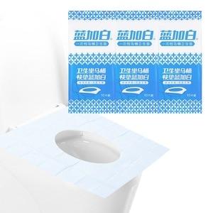 Image 2 - 1 упаковка Туалет прокладка для сиденья 100% Водонепроницаемый безопасности Портативный ПЭ каверы для ободка унитаза коврик для путешествий/Кемпинг Ванная комната для унитаза сиденье для туалета для унитаза коврик в ту