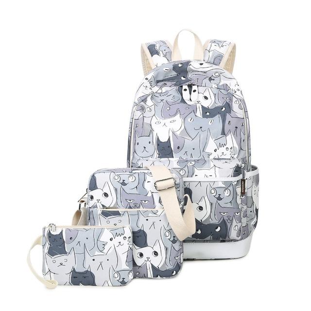 Ganador del Conjunto Mochilas Bolsa de La Escuela para Las Niñas Adolescentes Packbag Cut Cat Impresión Bagpack Portátiles Animal Lienzo Mochila de la Mujer