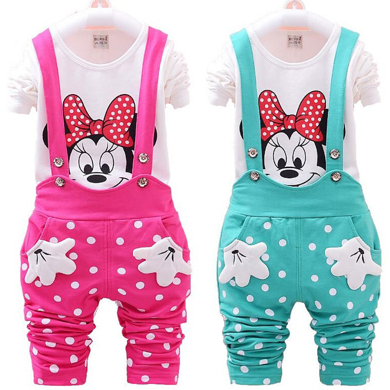 Baby Girls Minnie Clothes Set Children Kids Cartoon Long Sleeve T Shirt Dot Belt Pants Clothing Set Toddler Infant Sport Suit