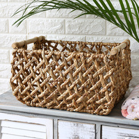 Hand Make Straw Hollow Storage Basket with Wood Handles Sundries Laundry Flower Planting Storage Basket Organizer for Home Decor