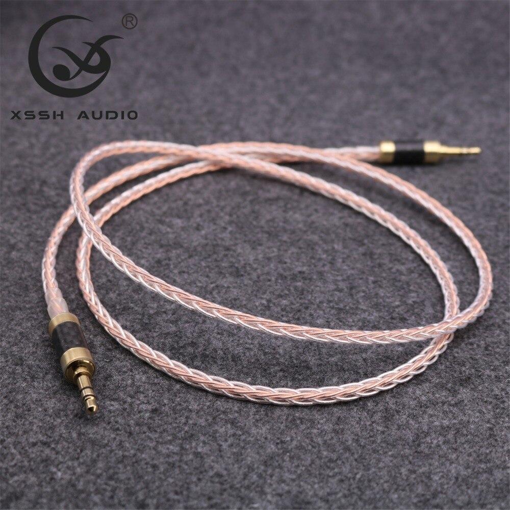 XSSH DIY Áudio 7n OCC Cobre condutor de cobre OFC Prata Mista fone de ouvido Fone De Ouvido 3.5 a 3.5 Carro Aux 3.5 milímetros cabo cabo de áudio