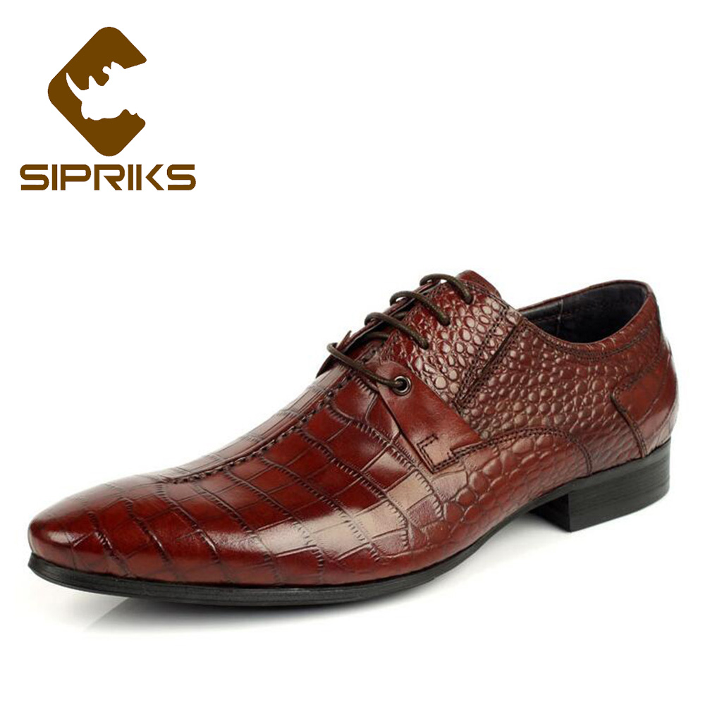 Supply Sipriks Classic Genuine Leather Printed Crocodile Skin Dress Shoes Boss Mens Business Office Gents Suit Social Formal Tuxedo 44 Formal Shoes