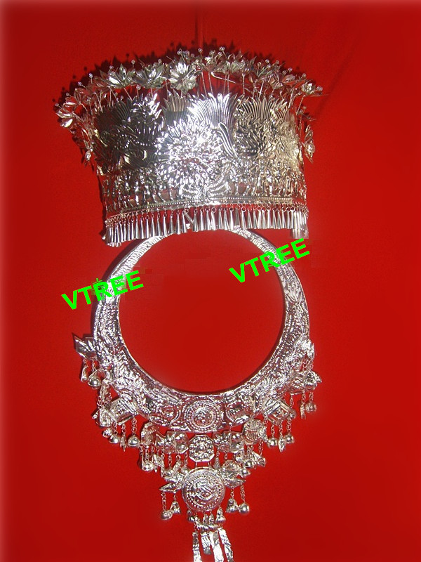 Hmong Hat Miao Accesssories Miao Silver Collar Miao Jewelry Necklace Chinese Folk Dance Hair Accessories Miao Hat And Collar