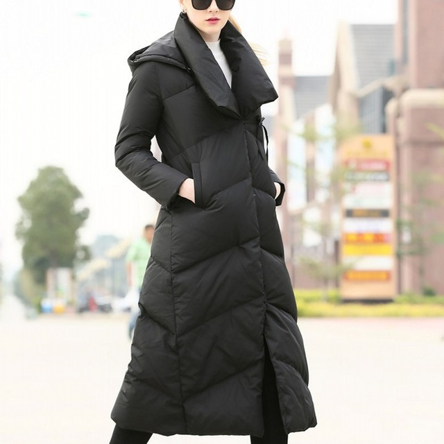 5072b9a876b9 Italy Design Super Long Womens Down Jacket Big Collar Thick White Duck Down  Coat Hooded Oversize Female Jackets Outwear Overcoat