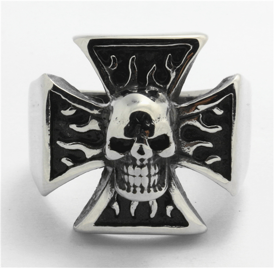 Men's Flame Cross Skull 316L Stainless Steel PUNK Silver Cool burning Ring...