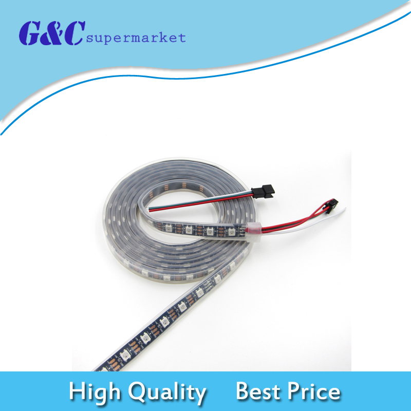 New 5M 300LEDS WS2812B RGB 5050 SMD RGB 5V Waterproof Black PCB Flexible LED Strip Light for TV Background Party Stripe LampNew 5M 300LEDS WS2812B RGB 5050 SMD RGB 5V Waterproof Black PCB Flexible LED Strip Light for TV Background Party Stripe Lamp
