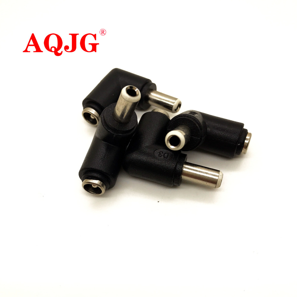 3pcs 5.5*2.1 Mm Female Jack To 5.5*2.5 Mm Male Plug 90 Degrees DC Power Connector Adapter Laptop