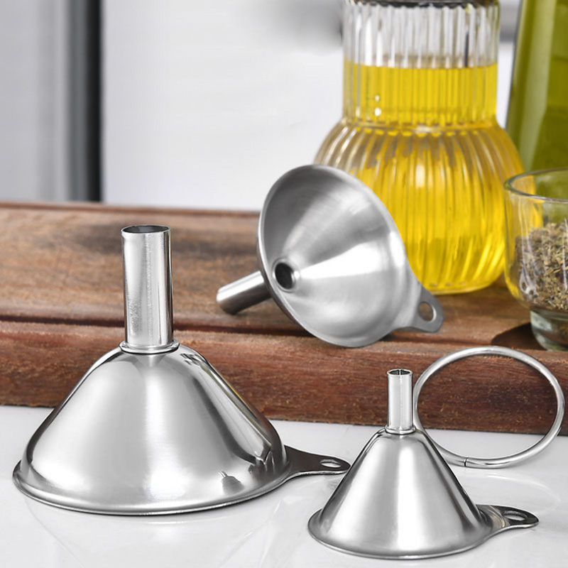 3Pcs Essentail Oil Tools Durable Spices Wine Flask Filter Funnels Kitchen Gadgets Household Portable Mini Funnel Stainless Steel(China)
