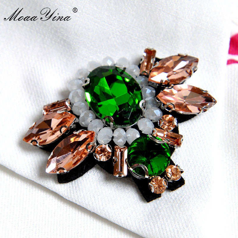 MoaaYina Fashion Designer Runway dress Spring Summer Women Dress Flare Sleeve Diamond Floral Print Ruffles Vintage Midi Dresse in Dresses from Women 39 s Clothing