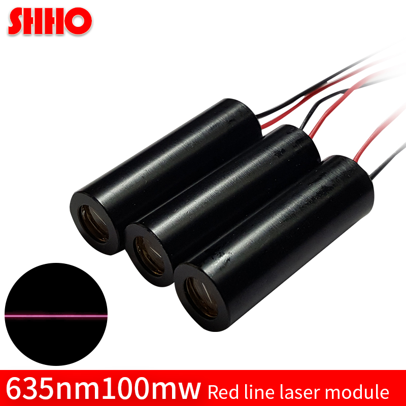 High quality aluminum 635nm 100mw red line laser module red laser marking industrial grade production locator cutting distance