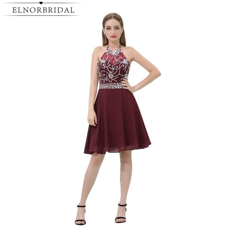 Burgundy   Cocktail     Dresses   2019 Sexy Vestido De Festa Curto De Luxo Halter Beading Chiffon Short Prom Party   Dress