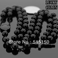 "MEN`S STAINLESS STEEL BLACK ROSARY CHAIN NECKLACE(30""+5.5"")8mm/106g"