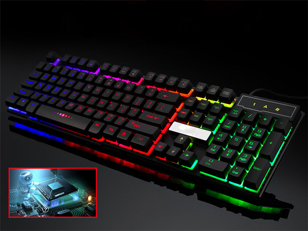 Digital Cables Reliable New Arrival Colorful Crack Led Illuminated Backlit Usb Wired Pc Rainbow Gaming Keyboard 30#