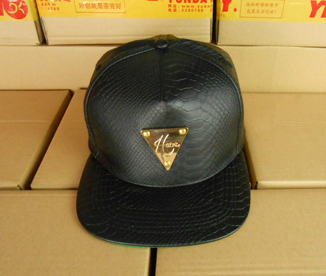 Black Snakeskin Leather Metal Plate Logo Snapback Hat cap Green Under Brim  Snapback closure efef352fce5