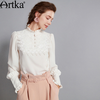 Artka 2017 Autumn Winter New Collection Cotton White Vintage Embroidery Long Sleeve Shirt SA10475Q