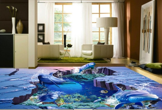 Photo Vinyl Flooring Wallpaper For Kids Room Ocean World Self Adhesive Waterproof Floor Tiles