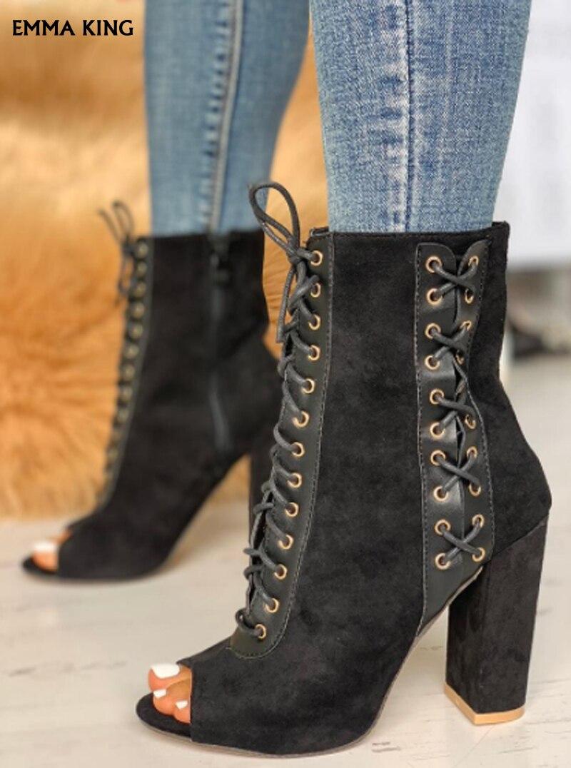 10 Chaussons Daim Haute Mode Botas Talon Femmes Lacets Toe Noir Cm Assez Hauts En Grande Épais Talons Mujer2019 Peep Taille Nouvelle À Bottines POZAnqdqwI