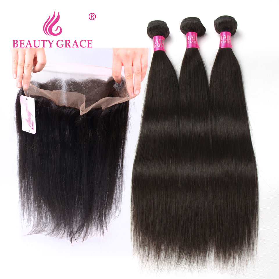 Malaysian Straight Hair 2 3 Bundles With Frontal Human Hair Weave Bundles With Frontal 360 Lace