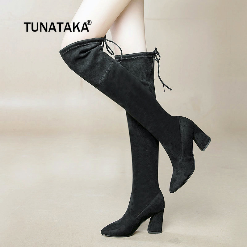 Flock Leather Thigh Boots Sexy High Heel Over The Knee Boots Lave Up Winter 2018 New Fashion Women Shoes
