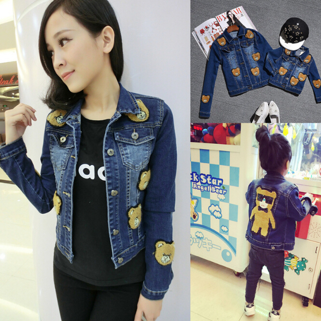 Bear Denim Coats Family Matching Mother Daughter Outwears Mom and Daughter Clothes Family Set Parent-Child Family Clothing YE3